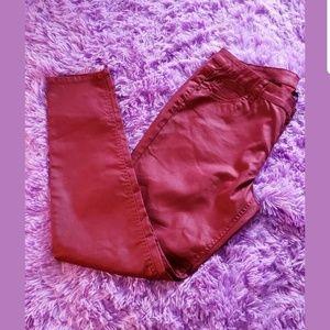 Bisou Bisou Michelle Bohbot Red Sheen Skinny Jeans